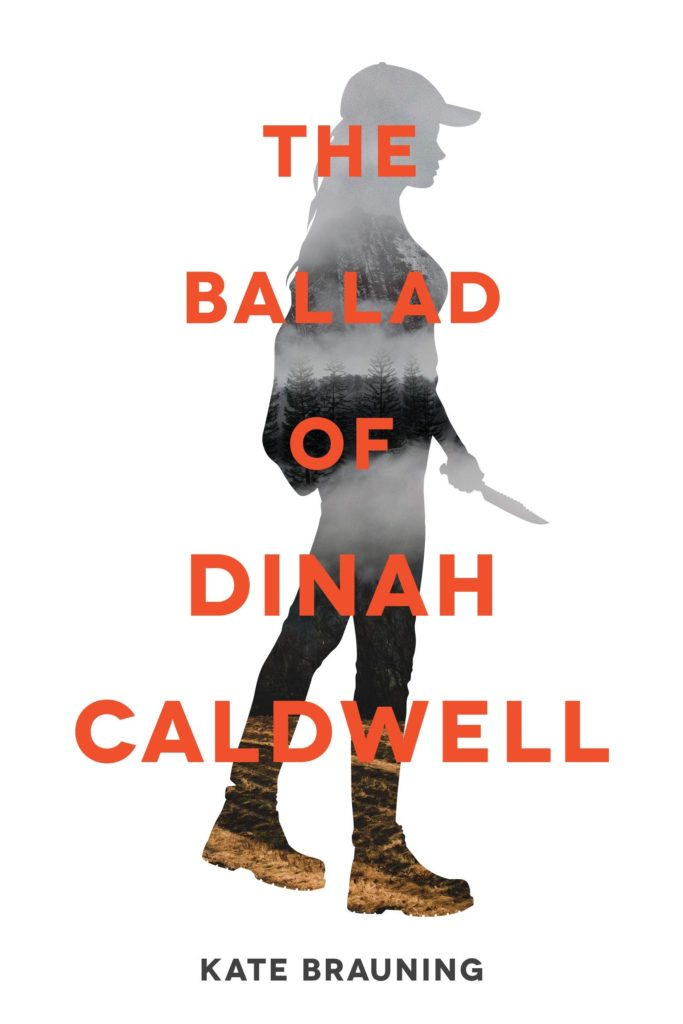Cover image, silhouette of a girl with a knife on white background with orange text